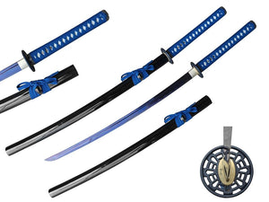 "40 1/4"" 1045+1060 Hand Forge Blue Damascus Samurai Sword"