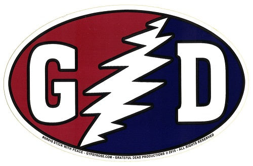 Grateful Dead GD Bolt Euro Oval Sticker Slap