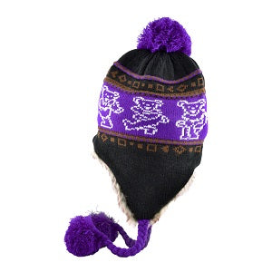 Grateful Dead - Dancing Bears Purple Knit Flap Hat - Hats