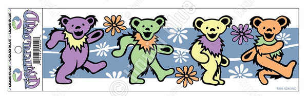 Grateful Dead - Dancing Bears and Flowers Bumper Sticker