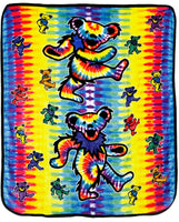Grateful Dead - Dancing Bear Tie Dye Fleece Blanket - Housewares