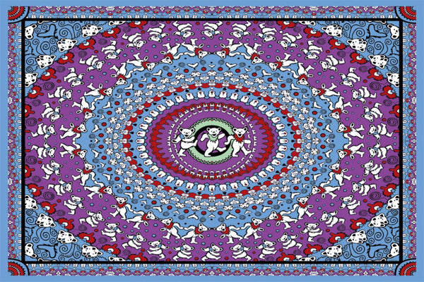 Grateful Dead - Blue Dancing Bears Tapestry Wall Hanging - Tapestries