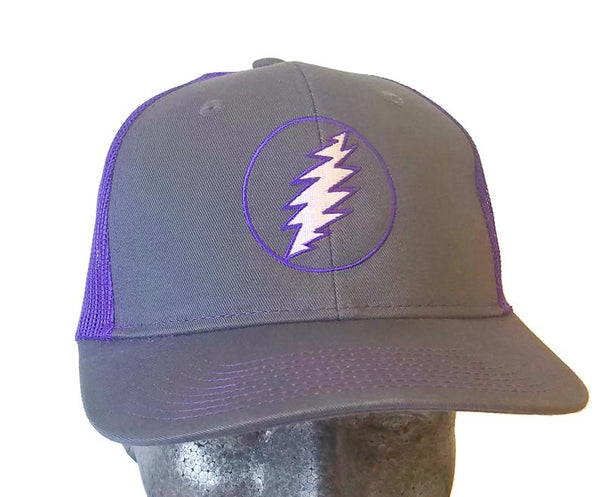 Grateful Dead - Lightning Bolt Purple Trucker Snapback Hat