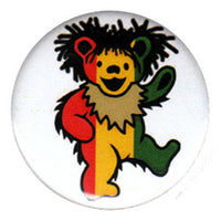 Grateful Dead - Rasta Dancing Bear Button - Buttons & Pins
