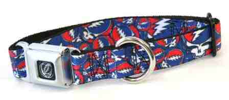 Grateful Dead - Steal Your Face Dog Collar Red White & Blue - Small (Fits 9-15 Neck) - Misc.