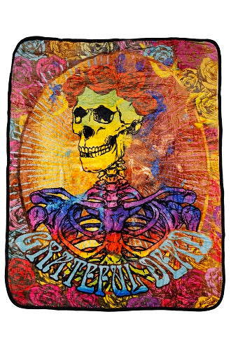 Grateful Dead - Tie Dye Bertha Skeleton & Roses Fleece Blanket