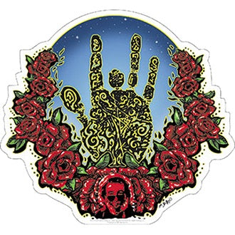 Jerry Garcia - Hand & Roses Sticker - Stickers