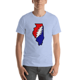 Grateful Dead Illinois Bolt T-Shirt - Heather Blue / S - T-Shirts
