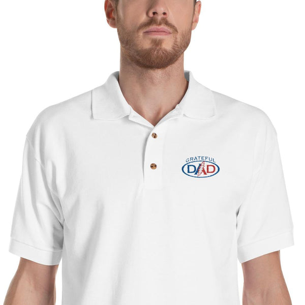 Grateful Dead - Grateful Dad Embroidered Polo Golf Shirt - White / M - Shirts