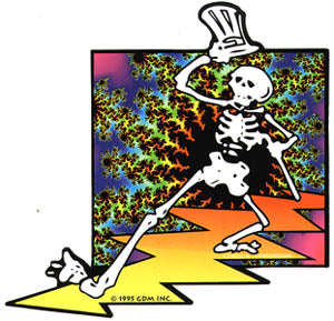 Grateful Dead - Skeleton Tie Dye Lightning Sticker - Sticker