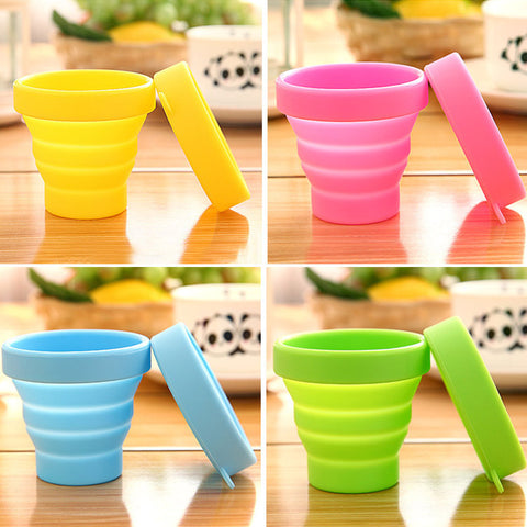 Portable Solid Color Water Silicone Cups