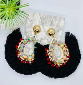 Large Black Fringe Earrings