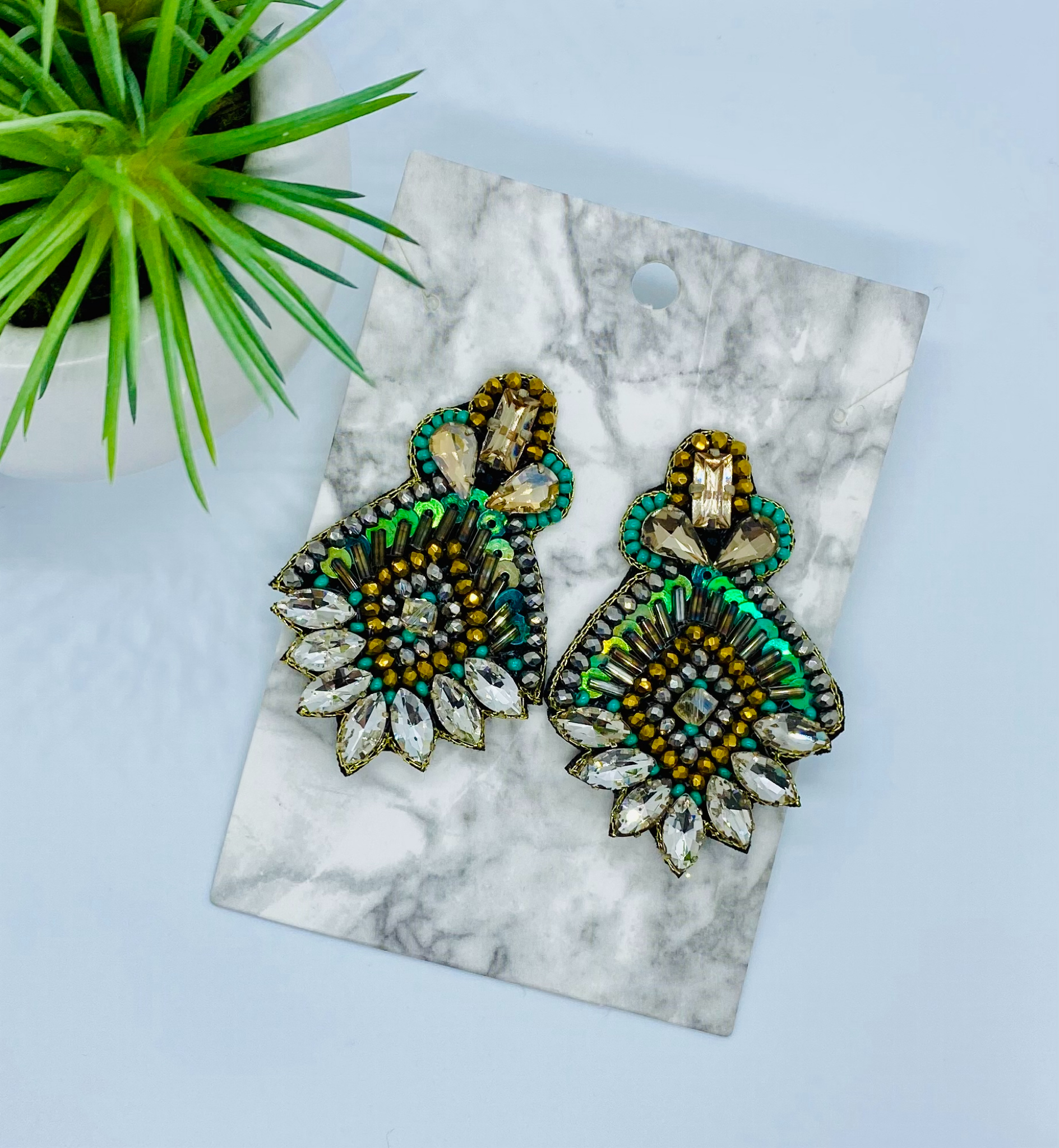 Green With Envy Beaded Earrings