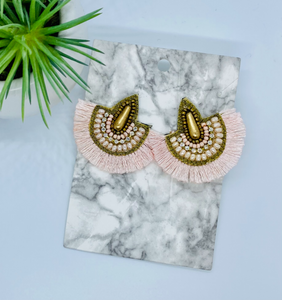 Baby Pink Small Fringe Earrings