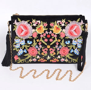 Faux Velvet Embroidered Clutch