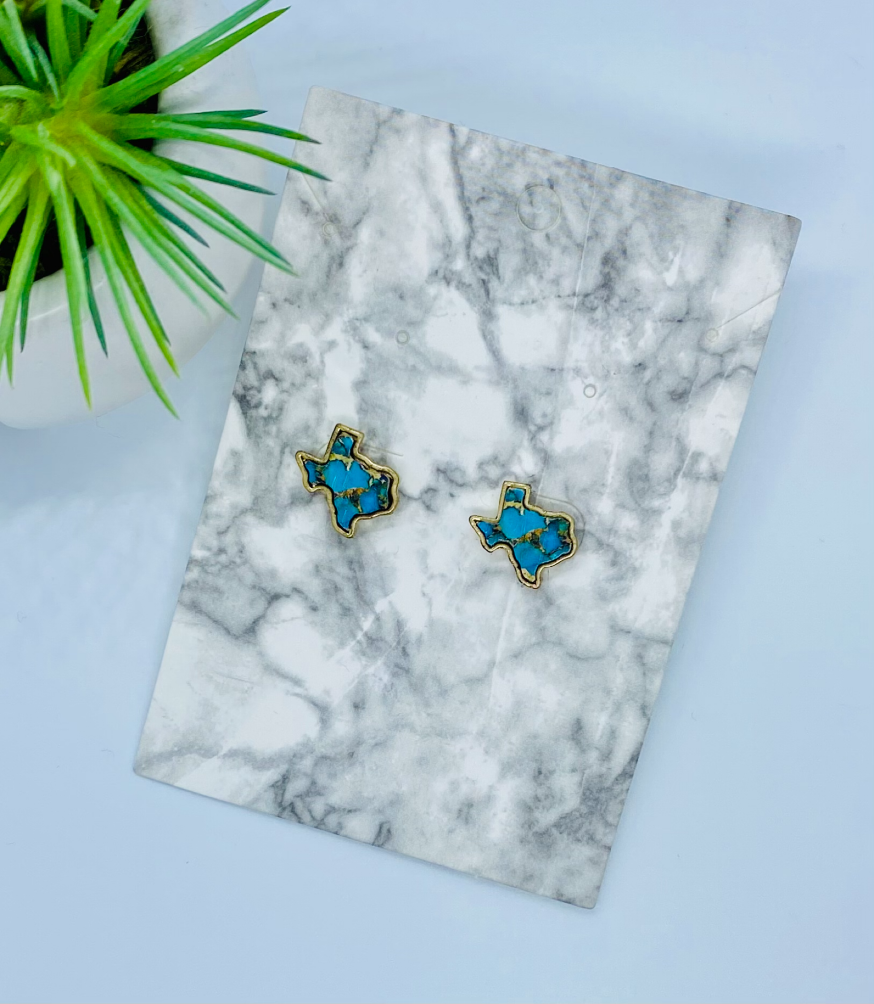 Texas Turquoise & Gold Marble Earrings