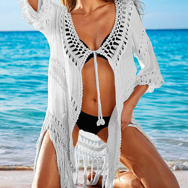 Celina Crochet Tie Front Cover Up
