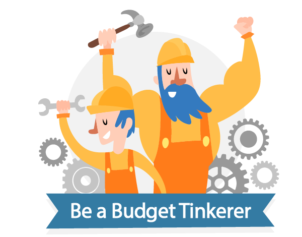 "Two Men With Tools, and Many Clockwork Gears in the Background with a banner that reads ""Don't Be Afraid to Be a Budget Tinkerer!"""