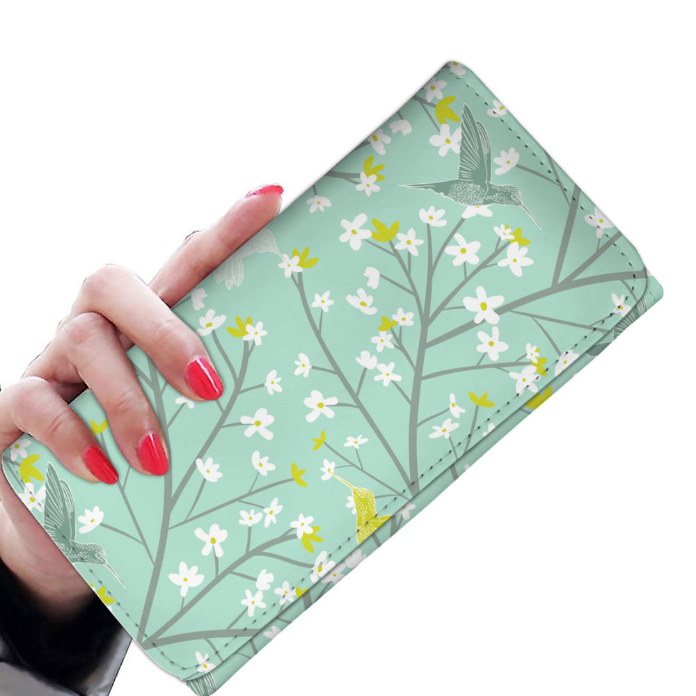 Hummingbird and Flowers Women's Wallet RFID