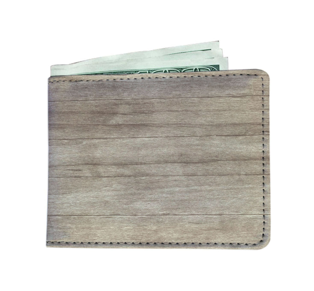 Men's Wallet-Wood Grain Design w/ Leather-Like Material