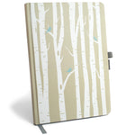Password Keeper Logbook with Pen Loop and Book Closure - Birch Trees & Birds
