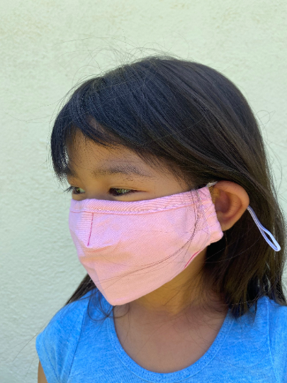 Cloth Small Child's Face Mask Adjustable Ear Loop + Nose Wire with PM 2.5 Filter Pocket, 2 Filters Included - ProMasks