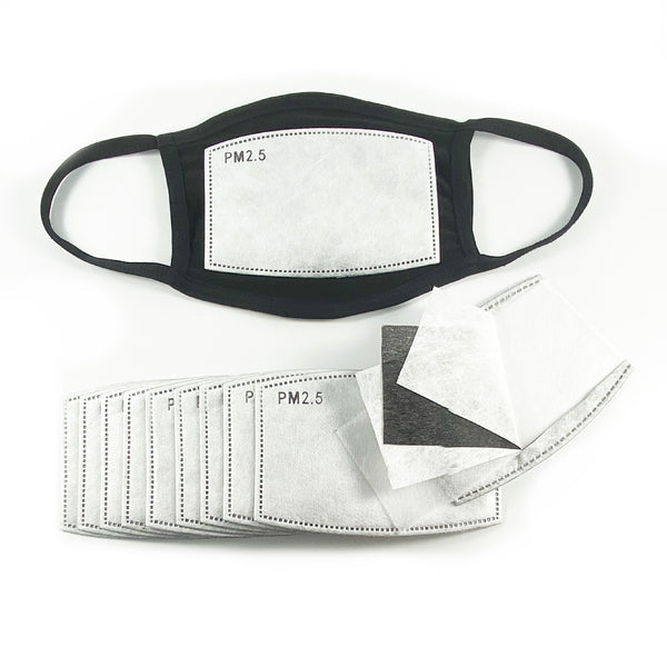 Pm 2.5 Filter 10PCS + 1 SMALL Black Face Mask Soft and Breathable with filter pocket Handmade in USA - ProMasks