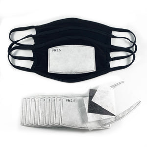PM 2.5 Filter 10 PCS + 3 LARGE Black Face Mask Soft and Breathable with filter pocket Handmade in USA - ProMasks