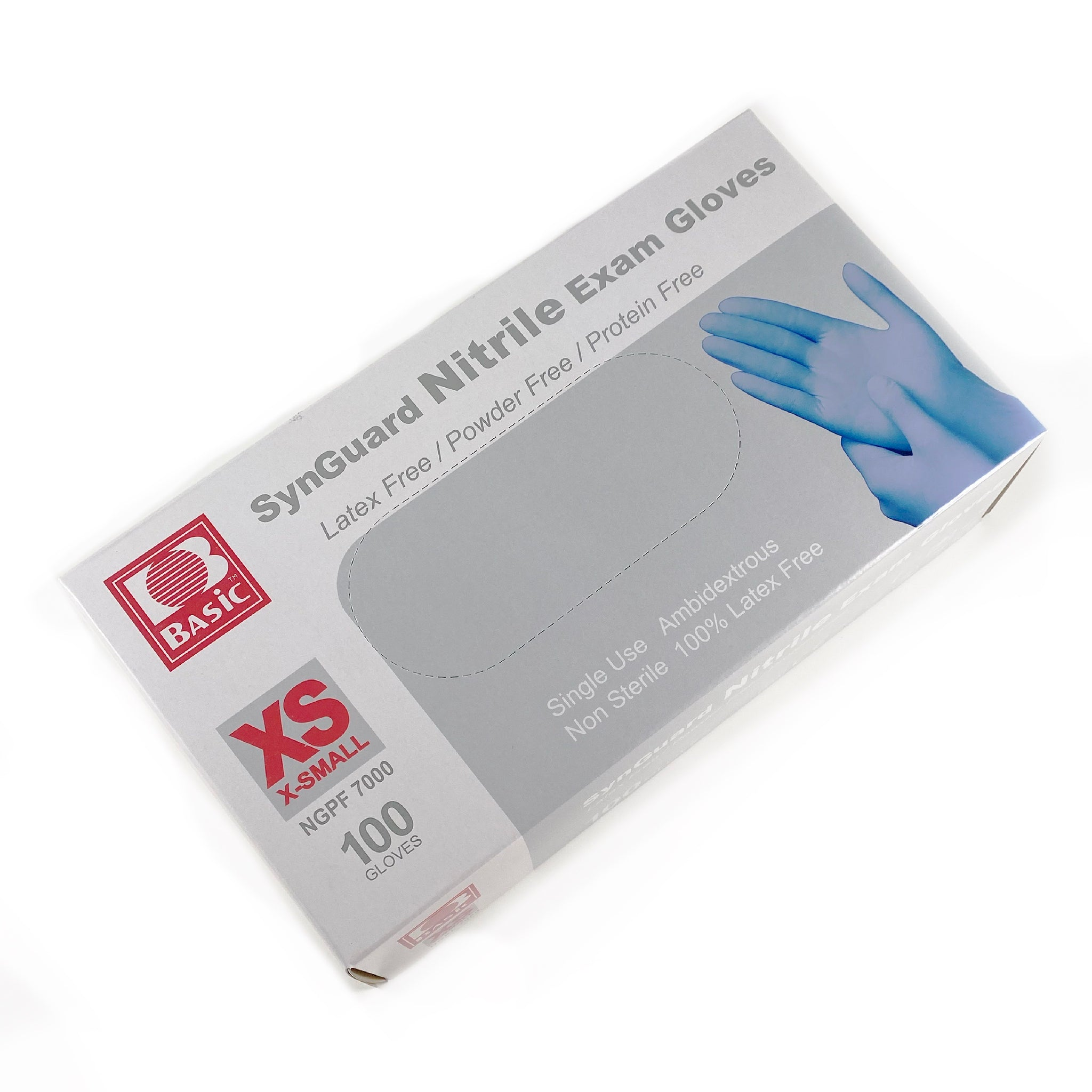 SynGuard Disposable Blue Nitrile Gloves, Box of 100