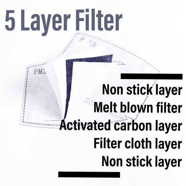 PM 2.5 Filter Charcoal Activated - Bulk Pack 50 Pcs Total - ProMasks