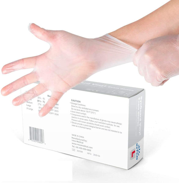 INTCO Vinyl Disposable Gloves, Box of 100
