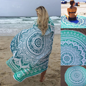 Bohemian Sunbath Round Beach Towel Blanket