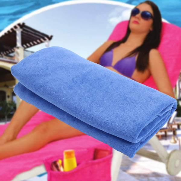 Microfiber Solid Beach Towel Buddy Bag Sun Lounger Mate Holiday Garden Lounge Bath Towel