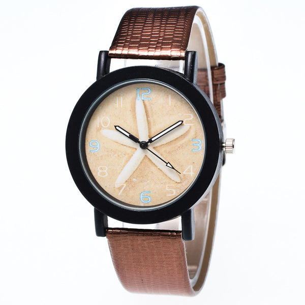 Starfish Leather Band Quartz Wrist Watch