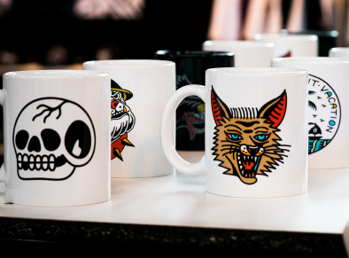 Custom printed mugs by Few and Far Studio