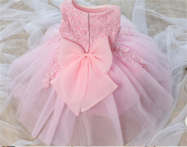 ce3417e7ac2d2 Fashion Formal Newborn Wedding Dress Baby Girl Bow Pattern For Toddler 1  Years Birthday Party Baptism