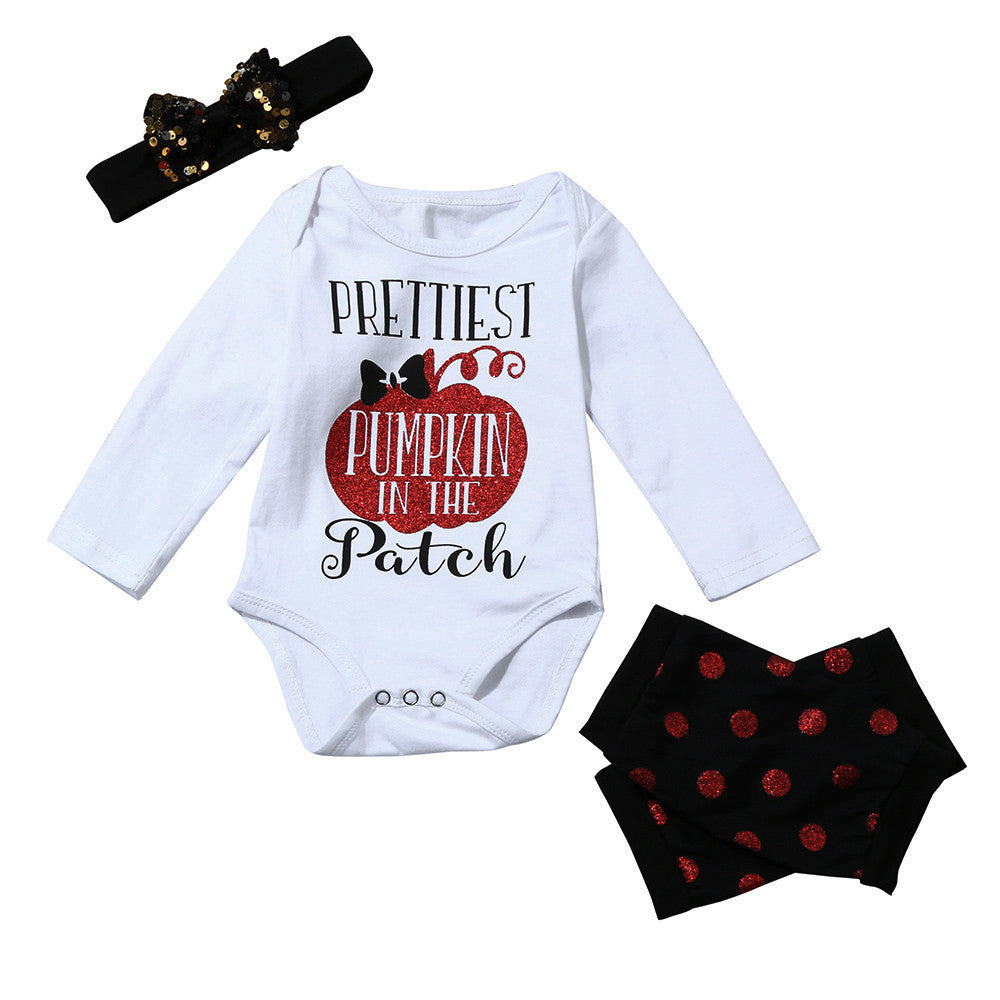 29f20167b 3PCS set Newborn Kids Baby Girls Halloween clothes Romper Jumpsuit+Headband  Clothes Outfits drop ship