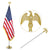 Jetlifee 8 Ft Tangle Free Flagpole with Gold Eagle Top(Just Pole)