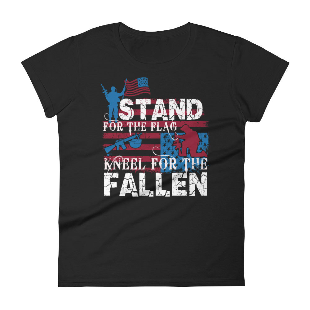 STAND FOR THE FLAG KNEEL FOR THE FALLEN - HILLTOP TEE SHIRTS