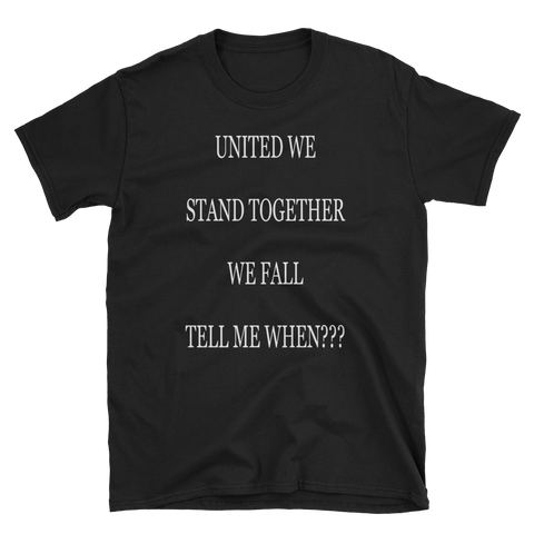 UNITED WE STAND TOGETHER WE FALL TELL ME WHEN??? - HILLTOP TEE SHIRTS