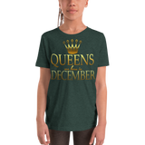 Youth Short Sleeve T-Shirt QUEENS ARE BORN IN DECEMBER - HILLTOP TEE SHIRTS