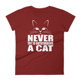NEVER TRY TO OUTSTUBBORN  A CAT - HILLTOP TEE SHIRTS