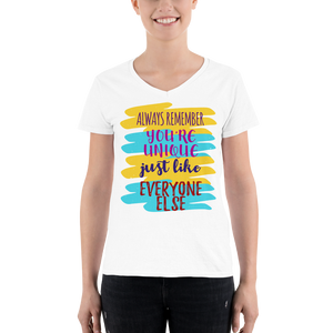 Women's Casual V-Neck Shirt ALWAYS REMEMBER YOU'RE UNIQUE JUST LIKE EVERYONE ELSE