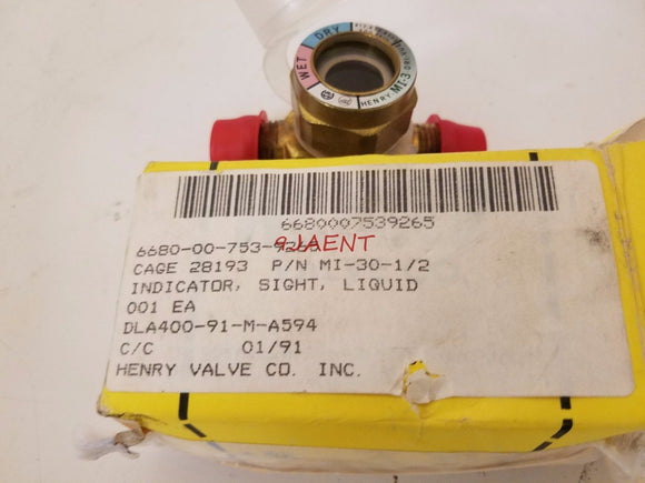 New Henry Valve Co. Moisture Indicator Sight Glass M1-30-1 M1-30-2 r12 r134a