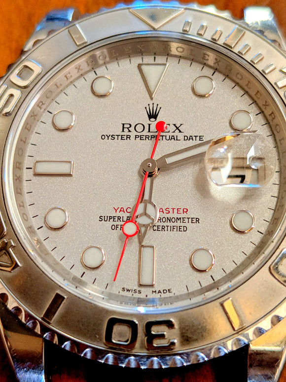 Rolex Yachtmaster 16622 Mens Full Size Platinum Dial Watch 3135 M SERIAL