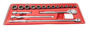 SNAP ON 17 PIECE 1/2 DRIVE SAE 6 POINT GENERAL SERVICE SET