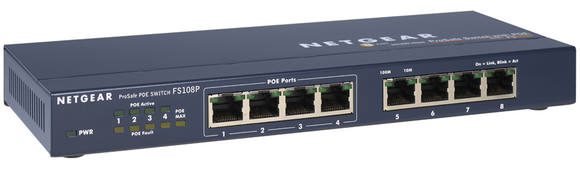 NetGear ProSafe FS108P 8 Port 10/100 Switch w/ 4 Port POE
