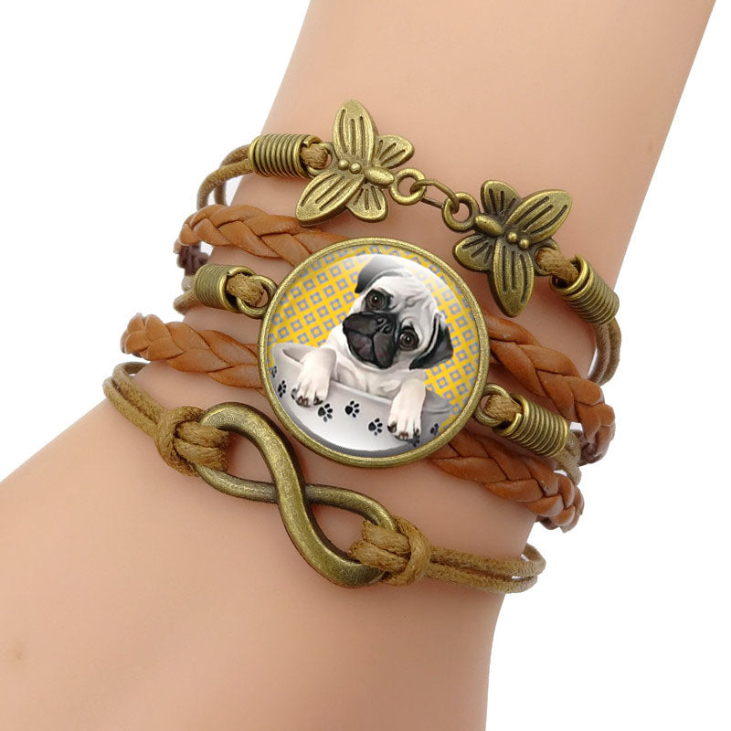 Glass Tea Cup Pug Bracelet