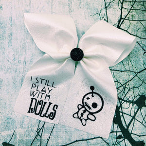 I still play with Dolls Voodoo Doll Glitter Cheer Bow Black & White Glitter Halloween