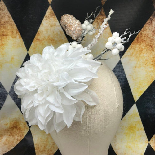 White Flower Winter Ice Fascinator Snow Sparkles